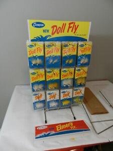 VINTAGE FISHING LURE STORE DISPLAY THOMPSON FISHING TACKLE CO. DOLL FLY ELMER