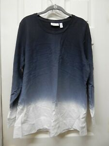 Denim Co Active Dip Dye French Terry Pullover Black Large A304427 NEW $14.99