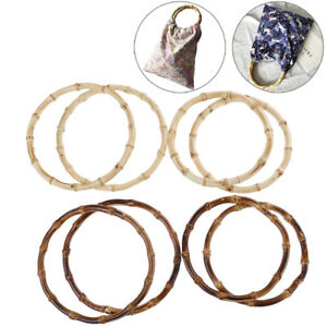 1Pair Round Bamboo Bag Handle for Handcrafted Handbag DIY Bags Accessories#