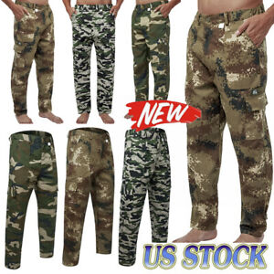 Men Cargo Pant Military Tactical Work Camo Army Combat Hiking Camouflage Trouser