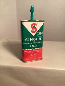 Vintage 39 Cent Singer Sewing Machine Oil Can Tin Handy Oiler 70% Full $7.00
