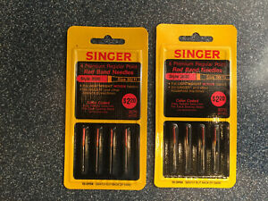 Lot of 2 Singer Needles 4 Premium Regular Point Red Band Style 2020 Woven 80 11 $14.99