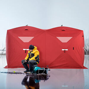 8 Person Portable Ice Fishing Shelter Outdoor Tent w Travel Bag Windows Red