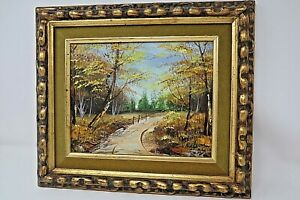 Vintage Painting By Nelson quot;Country Roadquot; Oil On Canvas 8 x 10 Framed $65.40
