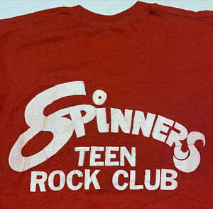 Vintage Spinners Teen Rock Club T Shirt Size M Screen Stars Red Free Ship US