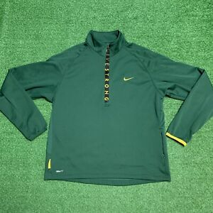 Nike Athletic Pullover Green Livestrong Half Zip Dry Fit Shirt Mens Size Medium $24.95