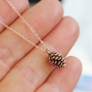 Simple Pine Cone Pendant Silver and Gold Tone Autumn Tree Necklace Fashion Jewel $14.97