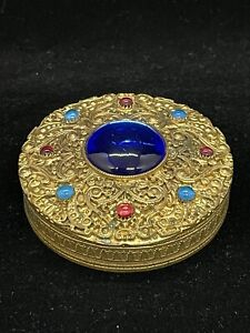 Antique Blue Jeweled Filigree Ornate Made in France Chatelaine Compact Box $199.99