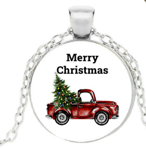 Merry Christmas Antique Truck Christmas Tree Necklace Pendant Holiday Necklace $12.00