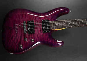 BRAND NEW B STOCK SCHECTER C 6 PLUS IN A COOL MAGENTA QUILTISH FLAME MAPLE $229.00