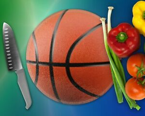 Basketball style Glass cutting board or trivet.