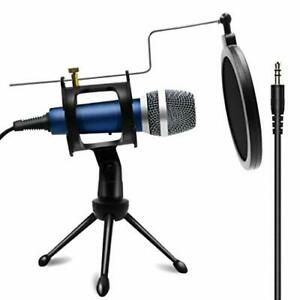 Blue Condenser Recording Microphone 3.5mm Plug and Play PC Microphone Broadcast $40.75