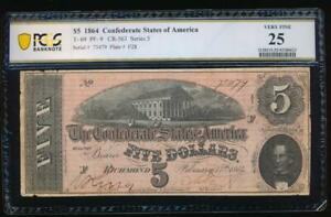 AC T 69 $5 1864 Confederate Currency CSA PCGS 25 comment PF 9
