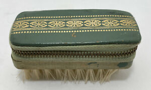 Vintage Travel Clothes Brush Manicure Sewing Kit Leather amp; Wood Austria Germany $16.95