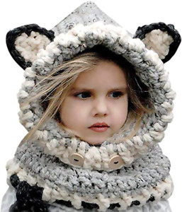 Kids Childrens Winter Fox Hats w Neck Cover Scarf Caps Earflap 2 6 Years Grey $8.54