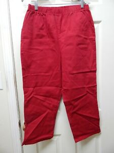 Denim Co. Crop Pants w Side Pockets Apple Red Large A14925 Preowned $9.99