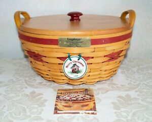 1999 Longaberger Christmas Collection Red Popcorn Basket Combo with Lid $39.99