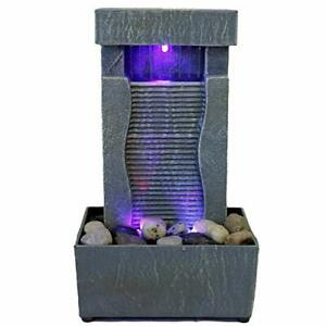 Tabletop Water Fountain Indoor Waterfall Color Changing LED Light Rainfall Relax $25.00