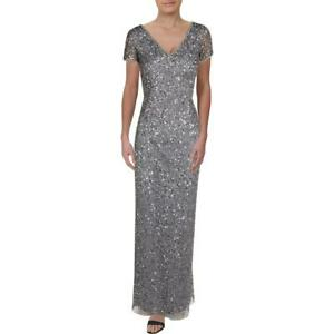 Adrianna Papell Womens Silver Mesh Embellished Formal Dress Gown 8 BHFO 3368 $23.39
