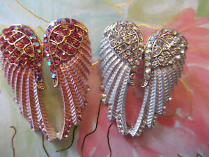 Gothic Vintage Brooch Crystal Enamel Metallic Pink amp; Silver Angle Wing Lot 2 pc $21.95