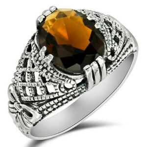2CT Smoky Topaz 925 Solid Sterling Silver Filigree Ring Jewelry Sz 6 WF5 $36.99