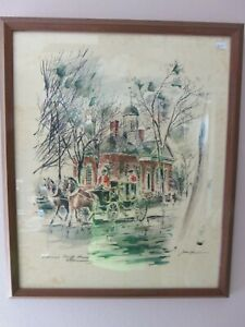 2 Plate Signed Lithographs John Haymson Williamsburg Colonial Courthouse Palace $99.99