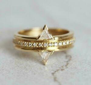 Half Eternity Engagement Two Stone Ring 14K Yellow Gold Filled 1.75 Ct Diamond $144.57