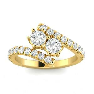 1.00 Carat TW Diamond Two Stone Ring in 10k Yellow Gold H I I2 I3 1.00ctw $699.99