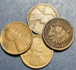 1910#x27;s Lincoln Wheat Cents Random 3 Coin Lot No Duplicates Indian Head Cent