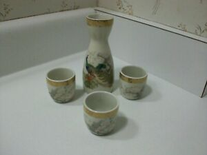 Satsuma Japan Saki Bottle And Cups Set Peacock Birds And Flowers With Gold Trim