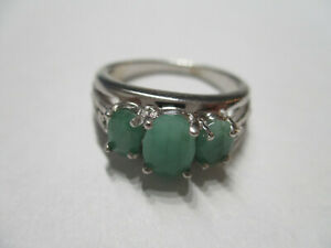 3 Stone emerald sterling silver ring for woman real green Emerald 925 silver 6 $20.66