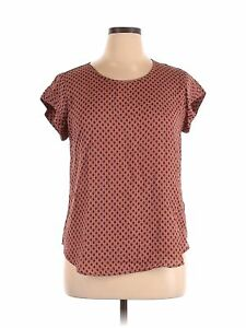 Lily White Women Pink Short Sleeve Blouse XL $15.99