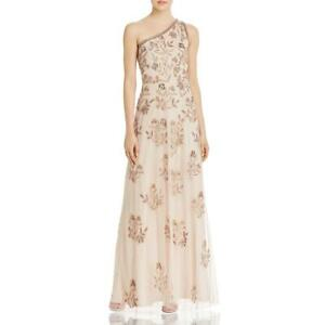 Adrianna Papell Womens Beige Beaded One Shoulder Formal Dress Gown 10 BHFO 1790 $74.03