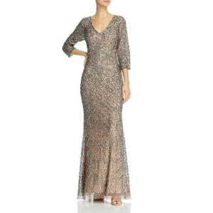 Adrianna Papell Womens Tan Sequined V Neck Formal Dress Gown 10 BHFO 2746 $61.19