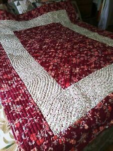 Hand amp; Machine Sewn Quilt Bedspread Pretty Floral Fabrics Front amp; Back 64 x 86quot; $85.49