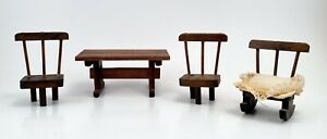 Vintage Wooden Dollhouse Miniature Furniture Table Chairs and Rocking Chair $5.95