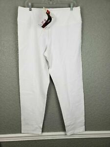 NWT Women with Control Tummy Control Ankle Pants Elastic Waist White L # A286518