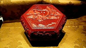 ANTIQUE CHINESE RED LACQUER LARGE CINNABAR IMMORTALS ON LANDSCAPE OCTAQGONAL BOX $685.00