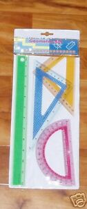 GEOMETRY SET PROTRACTOR TRIANGLES RULER 4 PIECES $5.49