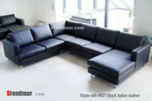 4PC NEW EURO DESIGN U SECTIONAL LEATHER SOFA S1835B