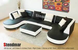 5PC NEW MODERN EURO DESIGN LEATHER SECTIONAL SOFA S89P5A