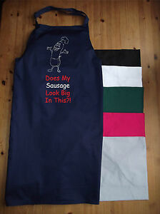 NEW FUNNY APRON DOES MY SAUSAGE LOOK BIG IN THIS? IDEAL PRESENT BBQ
