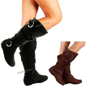 Womens Boots Knee High Faux Suede Flat Boot Fashion Slouch Stylish Shoes Size $24.59