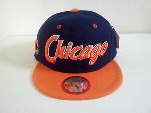 City Name quot;Chicagoquot; Houston Style Two Tone Navy Orange Snapback