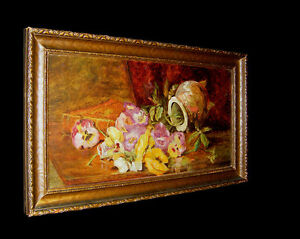 STILL LIFE - AMAZING ROMANTIC Post impressionist old oil on canvas flowers