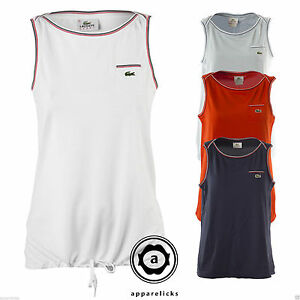 Lacoste Womens Sport Pocket Tank Top Vest Classic White Navy Blue Red All Sizes