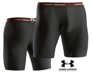 UNDER ARMOUR BOXERJOCK 9 INCH BOXER JOCK SHORT BLACK RED BRIEFS