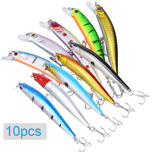 10PCS Fishing Lures Crankbaits Jerkbait Minnow Lot Hooks Crank Bait Bass Tackle