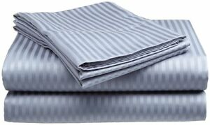Full Size Light Blue 400 Thread Count 100% Cotton Sateen Dobby Stripe Sheet Set $18.99