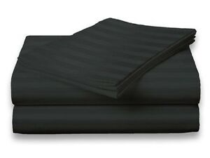Queen Size Black 400 Thread Count 100% Cotton Sateen Dobby Stripe Sheet Set